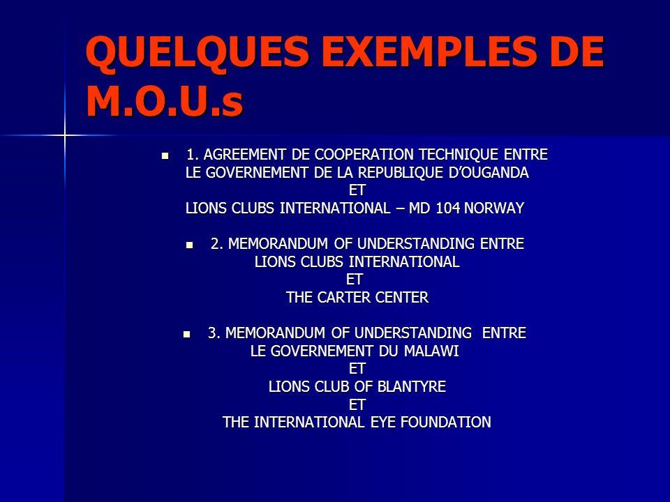 QUELQUES EXEMPLES DE M.O.U.s 1. AGREEMENT DE COOPERATION TECHNIQUE ENTRE 1. AGREEMENT DE COOPERATION TECHNIQUE ENTRE LE GOVERNEMENT DE LA REPUBLIQUE D