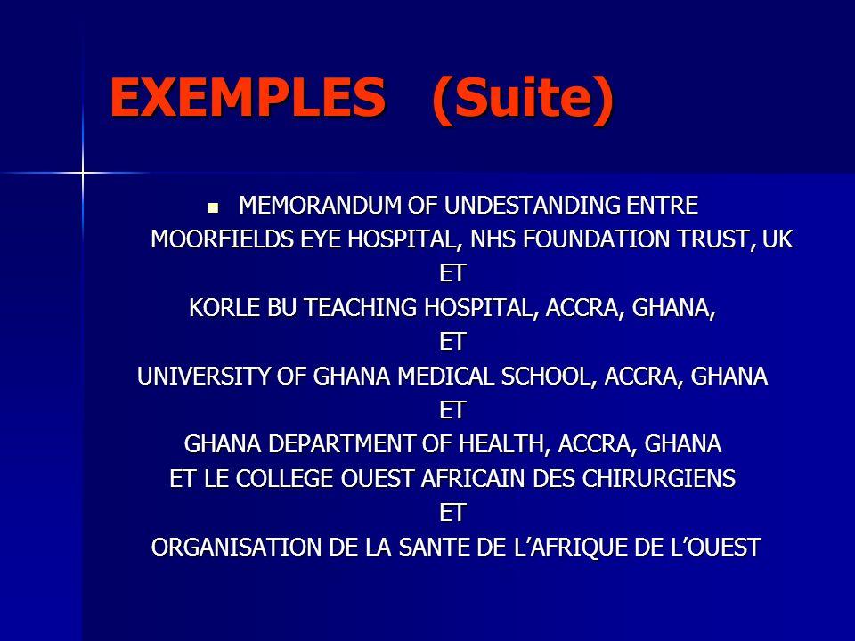 EXEMPLES (Suite) MEMORANDUM OF UNDESTANDING ENTRE MEMORANDUM OF UNDESTANDING ENTRE MOORFIELDS EYE HOSPITAL, NHS FOUNDATION TRUST, UK MOORFIELDS EYE HO