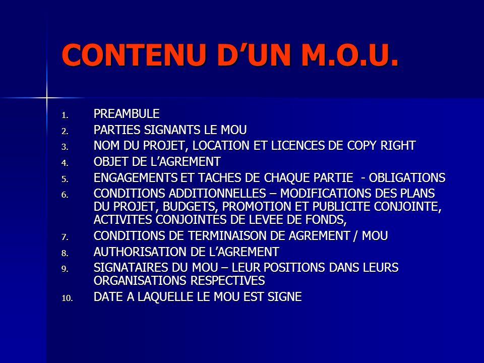 CONTENU DUN M.O.U. 1. PREAMBULE 2. PARTIES SIGNANTS LE MOU 3. NOM DU PROJET, LOCATION ET LICENCES DE COPY RIGHT 4. OBJET DE LAGREMENT 5. ENGAGEMENTS E