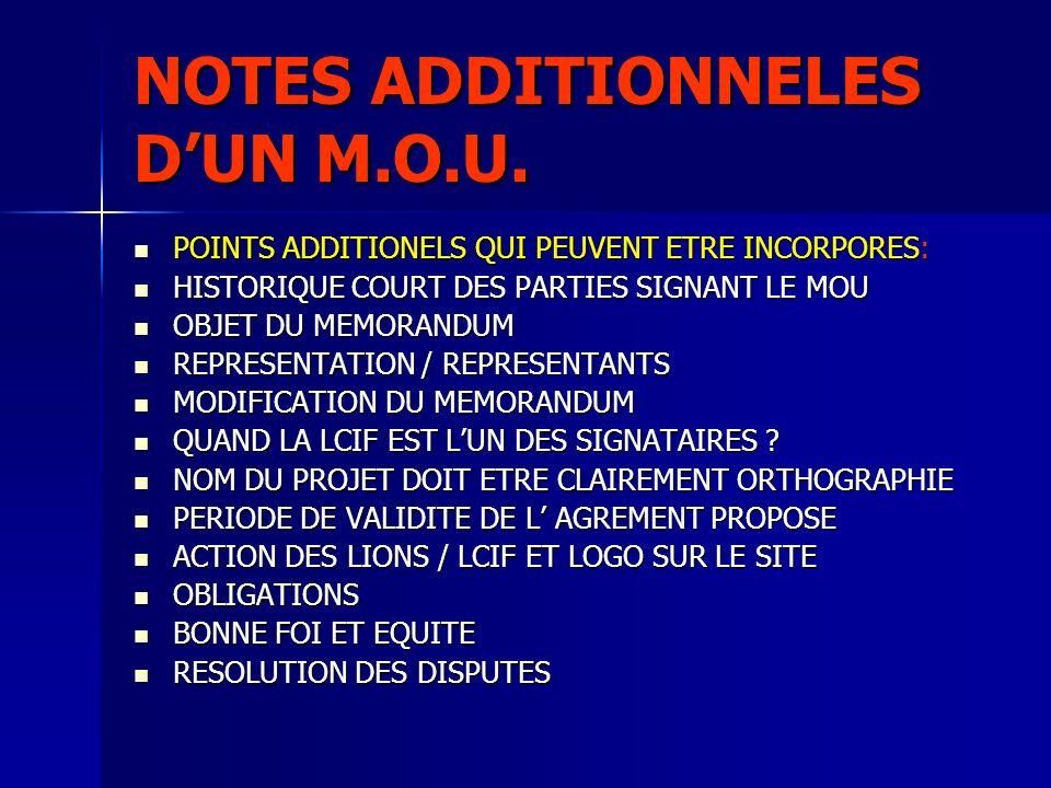NOTES ADDITIONNELES DUN M.O.U. POINTS ADDITIONELS QUI PEUVENT ETRE INCORPORES: POINTS ADDITIONELS QUI PEUVENT ETRE INCORPORES: HISTORIQUE COURT DES PA