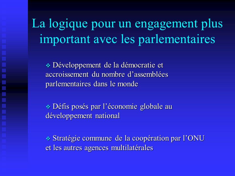La logique pour un engagement plus important avec les parlementaires Développement de la démocratie et accroissement du nombre dassemblées parlementaires dans le monde Développement de la démocratie et accroissement du nombre dassemblées parlementaires dans le monde Défis posés par léconomie globale au développement national Défis posés par léconomie globale au développement national Stratégie commune de la coopération par lONU et les autres agences multilatérales Stratégie commune de la coopération par lONU et les autres agences multilatérales
