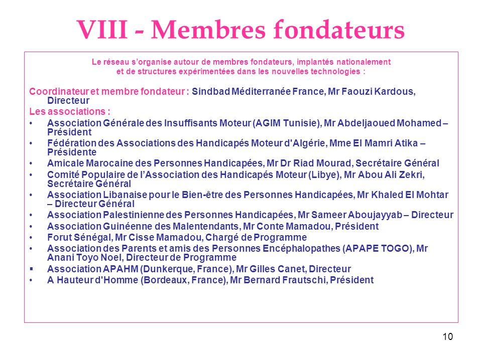 10 VIII - Membres fondateurs Le réseau sorganise autour de membres fondateurs, implantés nationalement et de structures expérimentées dans les nouvell