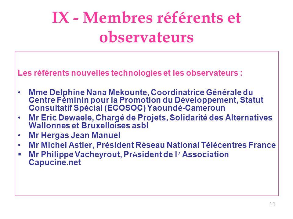 11 IX - Membres référents et observateurs Les référents nouvelles technologies et les observateurs : Mme Delphine Nana Mekounte, Coordinatrice Général
