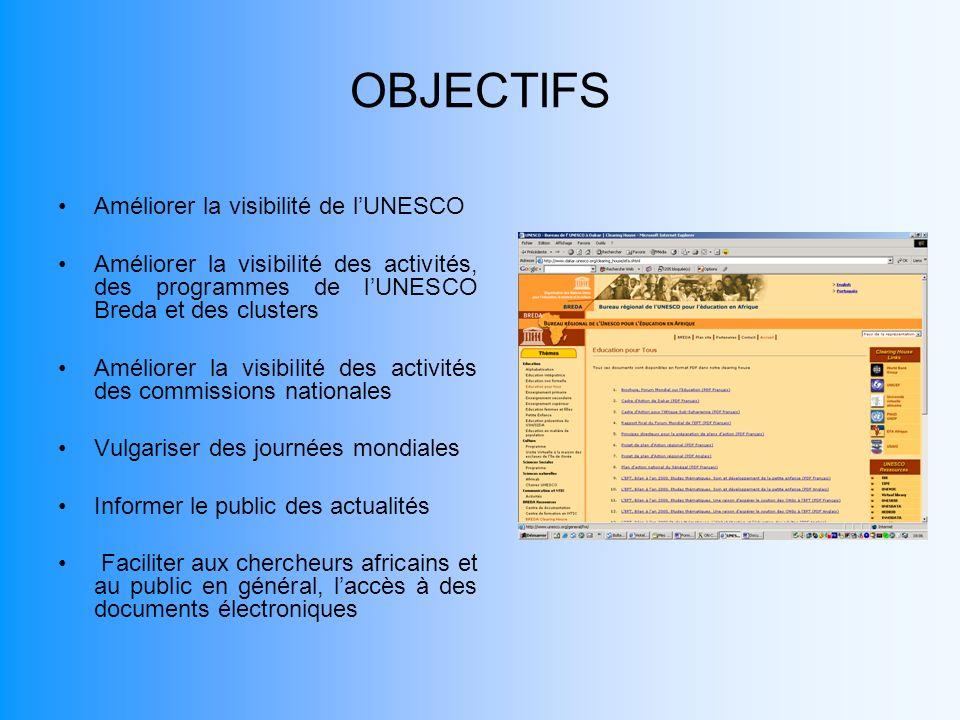 OBJECTIFS Améliorer la visibilité de lUNESCO Améliorer la visibilité des activités, des programmes de lUNESCO Breda et des clusters Améliorer la visib