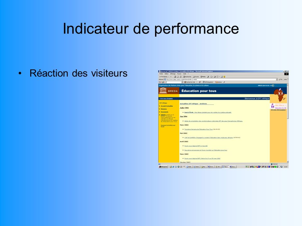 Indicateur de performance Réaction des visiteurs