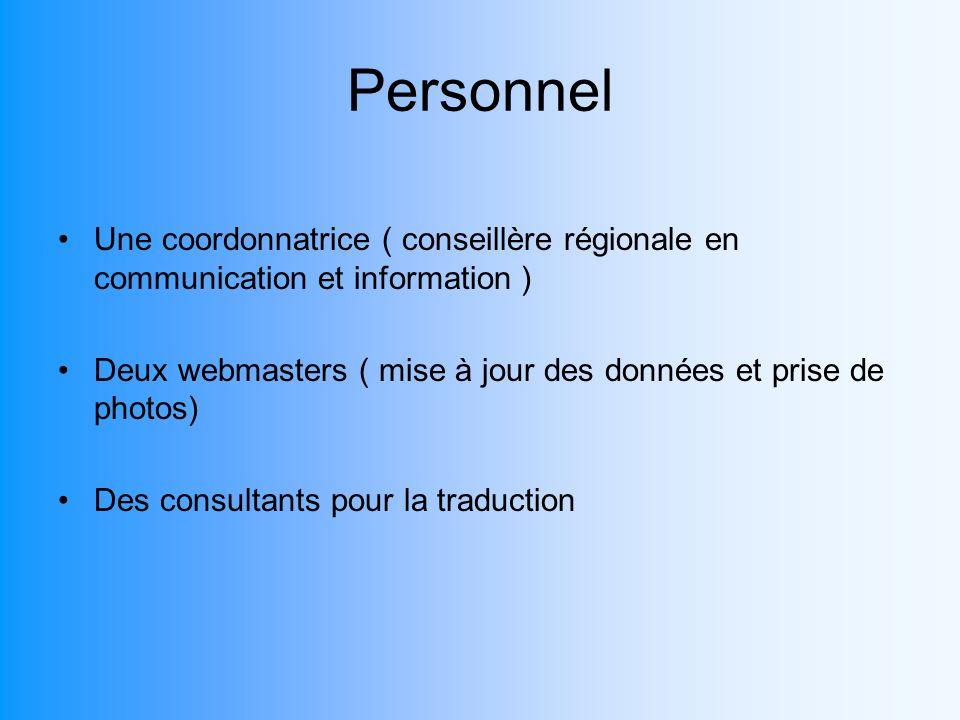 Personnel Une coordonnatrice ( conseillère régionale en communication et information ) Deux webmasters ( mise à jour des données et prise de photos) D