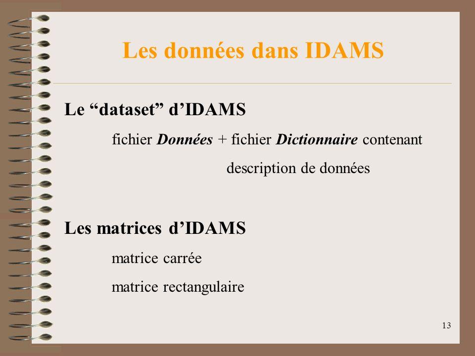 13 Les données dans IDAMS Le dataset dIDAMS fichier Données + fichier Dictionnaire contenant description de données Les matrices dIDAMS matrice carrée matrice rectangulaire