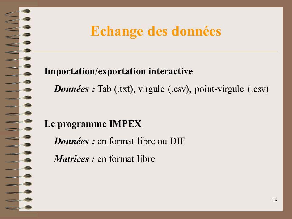 19 Echange des données Importation/exportation interactive Données : Tab (.txt), virgule (.csv), point-virgule (.csv) Le programme IMPEX Données : en format libre ou DIF Matrices : en format libre