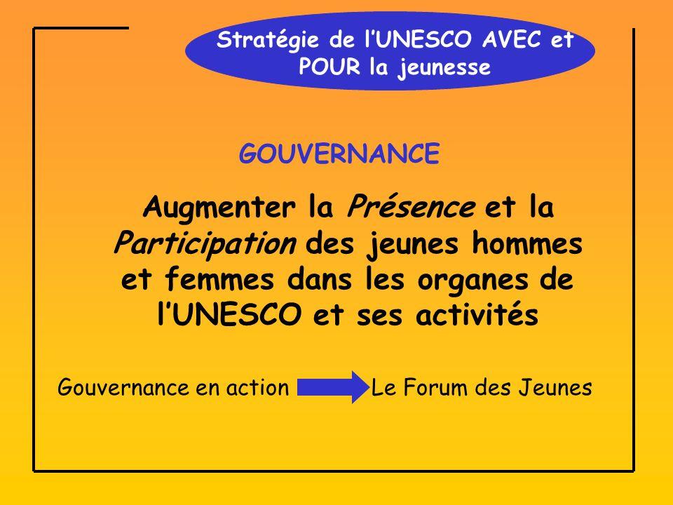Stratégie de lUNESCO AVEC et POUR la jeunesse GOUVERNANCE Augmenter la Présence et la Participation des jeunes hommes et femmes dans les organes de lUNESCO et ses activités Gouvernance en actionLe Forum des Jeunes