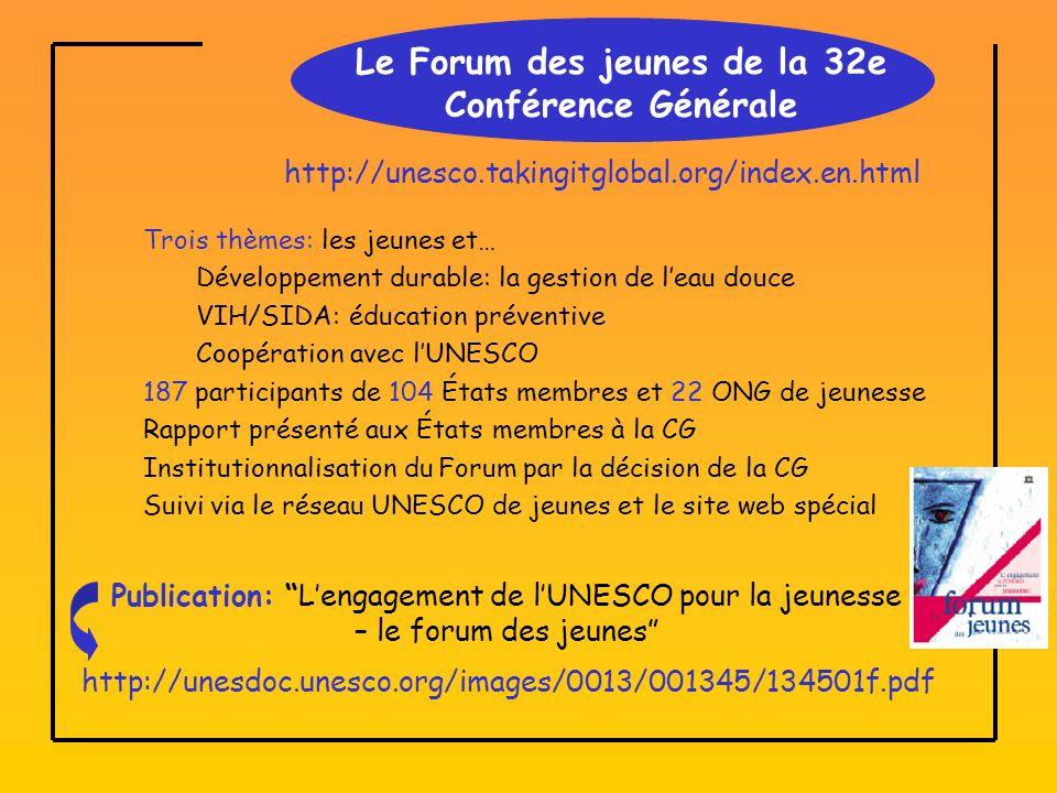 Le Forum des jeunes de la 32e Conférence Générale Trois thèmes: les jeunes et… Développement durable: la gestion de leau douce VIH/SIDA: éducation préventive Coopération avec lUNESCO 187 participants de 104 États membres et 22 ONG de jeunesse Rapport présenté aux États membres à la CG Institutionnalisation du Forum par la décision de la CG Suivi via le réseau UNESCO de jeunes et le site web spécial http://unesco.takingitglobal.org/index.en.html http://unesdoc.unesco.org/images/0013/001345/134501f.pdf Publication: Lengagement de lUNESCO pour la jeunesse – le forum des jeunes