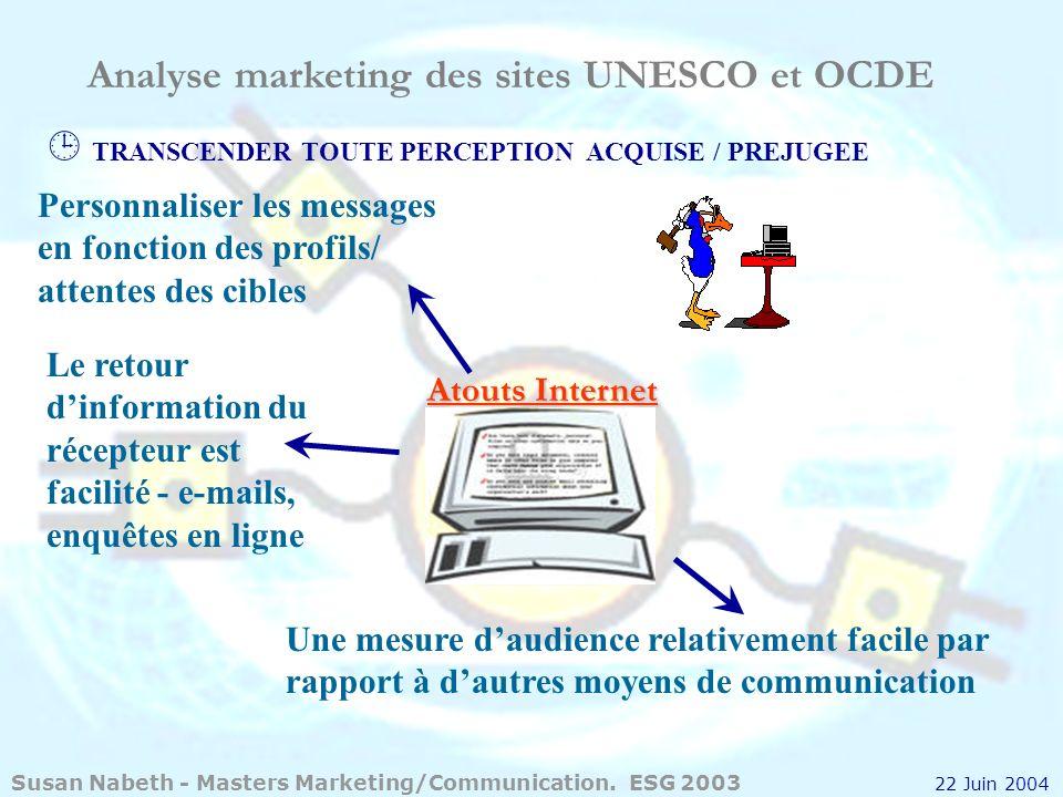 Analyse marketing des sites UNESCO et OCDE Personnaliser les messages en fonction des profils/ attentes des cibles Une mesure daudience relativement f