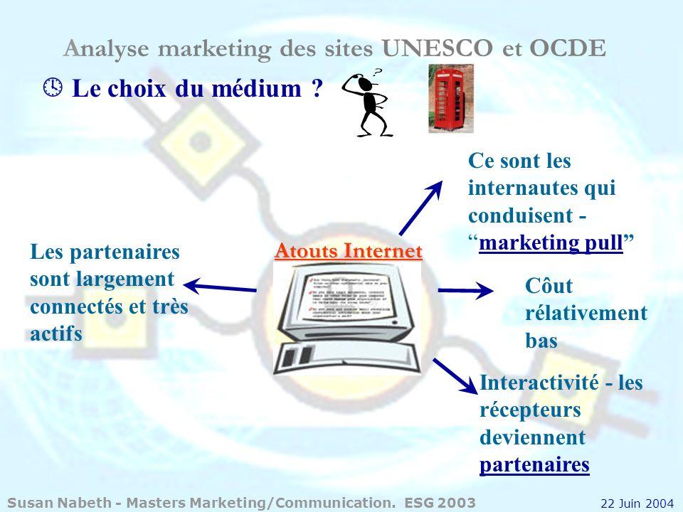 Analyse marketing des sites UNESCO et OCDE Interactivité - les récepteurs deviennent partenaires Le choix du médium ? Atouts Internet Les partenaires