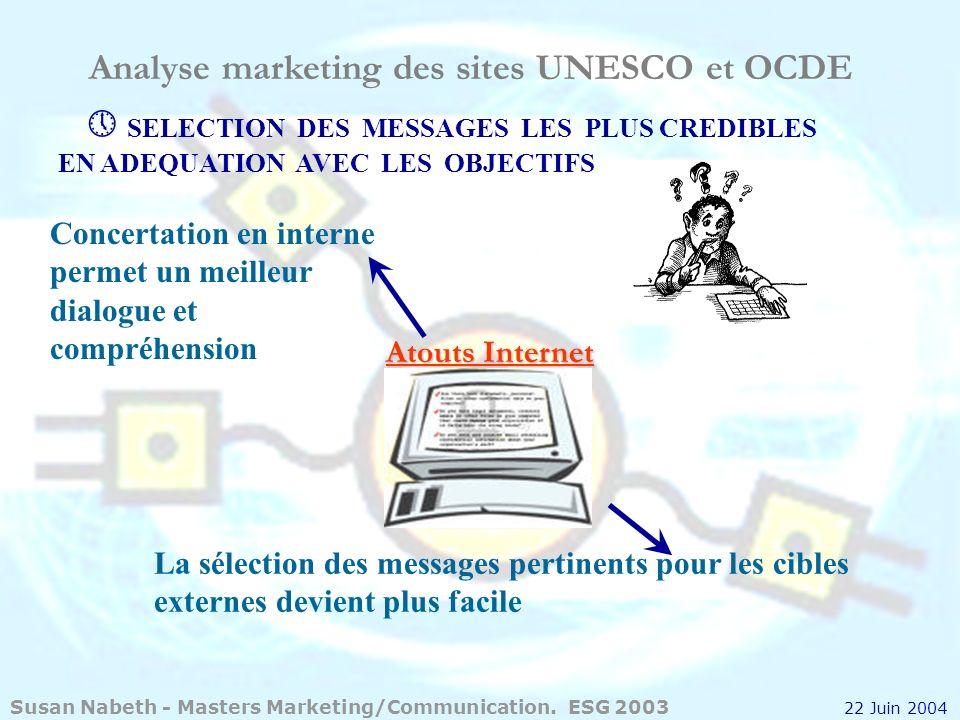 Analyse marketing des sites UNESCO et OCDE SELECTION DES MESSAGES LES PLUS CREDIBLES EN ADEQUATION AVEC LES OBJECTIFS Atouts Internet La sélection des