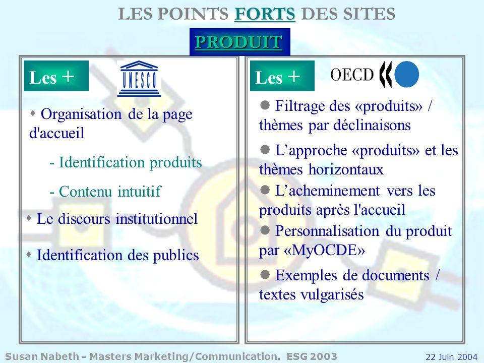 FORTS LES POINTS FORTS DES SITESPRODUIT s Organisation de la page d'accueil - Identification produits - Contenu intuitif s Le discours institutionnel