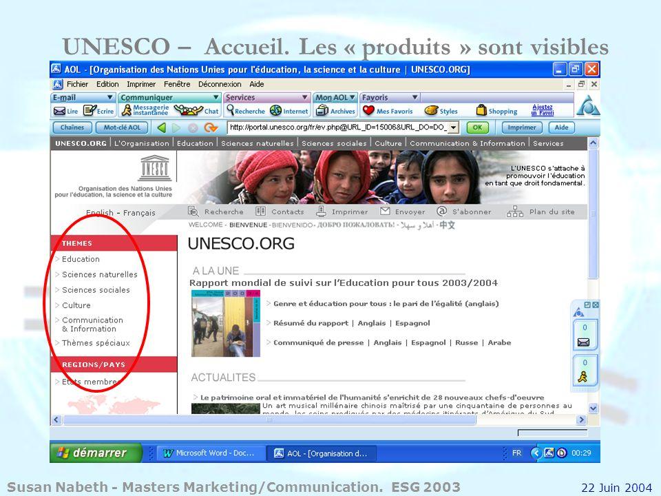 UNESCO – Accueil. Les « produits » sont visibles Susan Nabeth - Masters Marketing/Communication. ESG 2003 22 Juin 2004