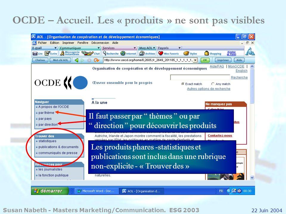 OCDE – Accueil. Les « produits » ne sont pas visibles Il faut passer par thèmes ou par direction pour découvrir les produits Les produits phares -stat