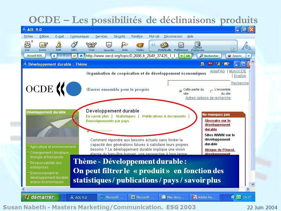 OCDE – Les possibilités de déclinaisons produits Thème - Développement durable : On peut filtrer le « produit » en fonction des statistiques / publica