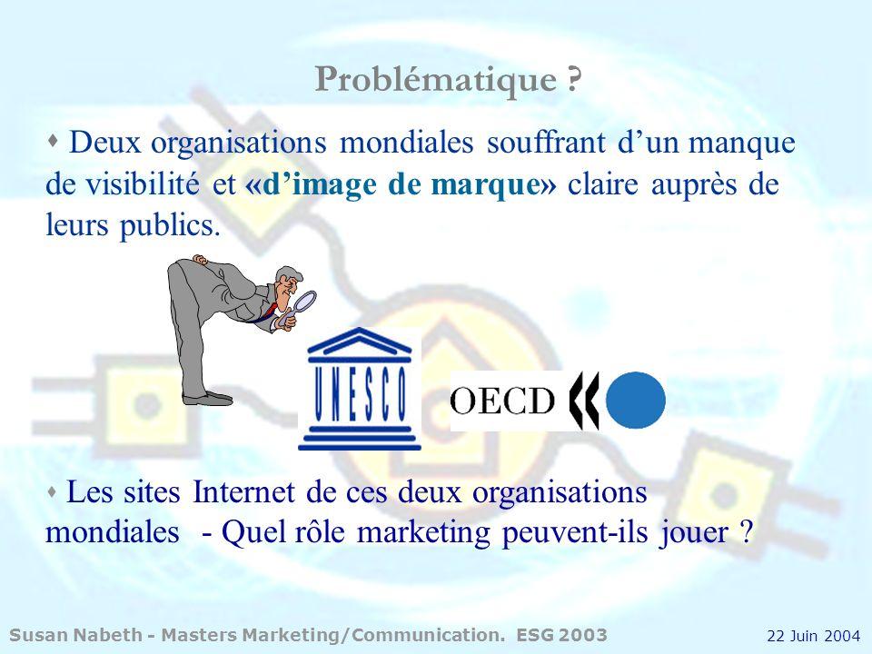 Susan Nabeth2 Deux organisations mondiales souffrant dun manque de visibilité et «dimage de marque» claire auprès de leurs publics. Les sites Internet