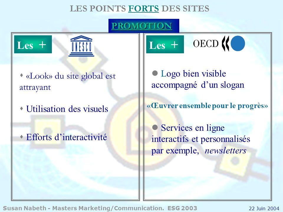 LES POINTS FORTS DES SITESPROMOTION Les + «Look» du site global est attrayant s Utilisation des visuels s Efforts dinteractivité Logo bien visible acc