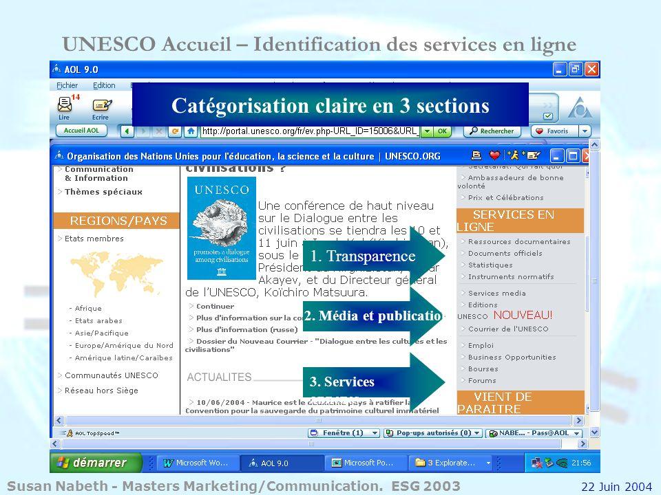UNESCO Accueil – Identification des services en ligne 1. Transparence Catégorisation claire en 3 sections 2. Média et publications 3. Services annexes