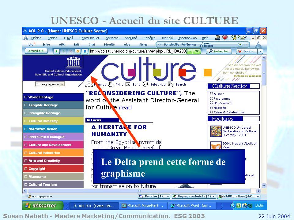 UNESCO - Accueil du site CULTURE Le Delta prend cette forme de graphisme Susan Nabeth - Masters Marketing/Communication. ESG 2003 22 Juin 2004