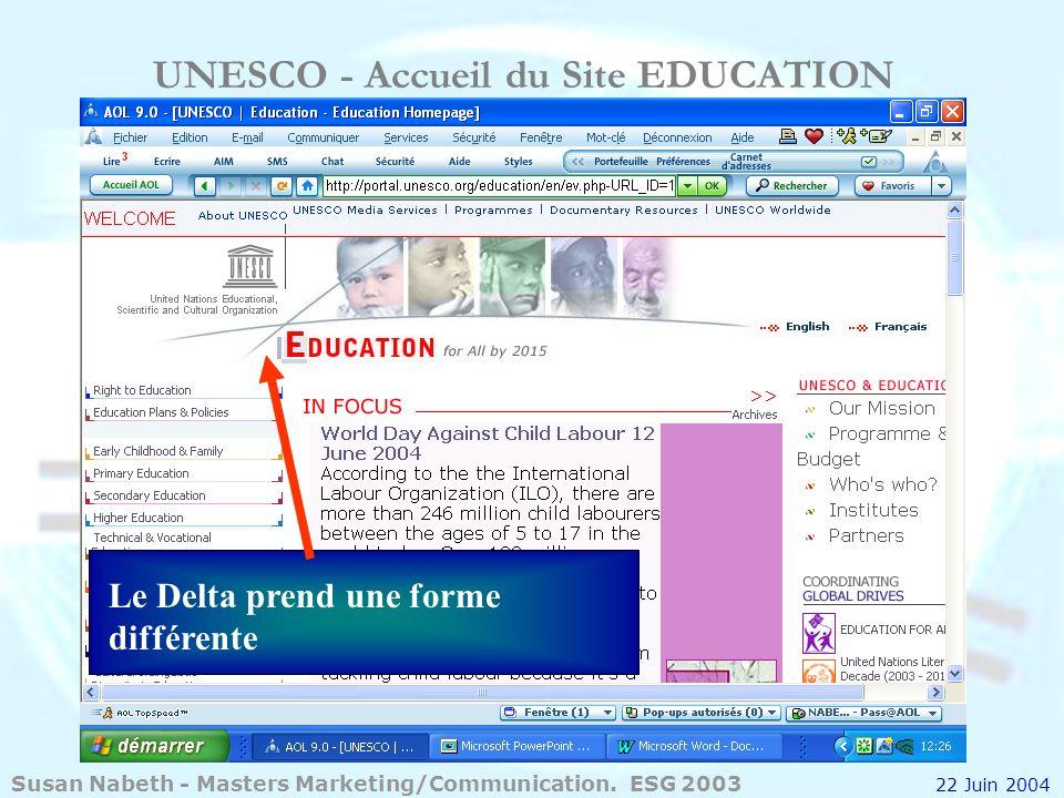 UNESCO - Accueil du Site EDUCATION Le Delta prend une forme différente Susan Nabeth - Masters Marketing/Communication. ESG 2003 22 Juin 2004