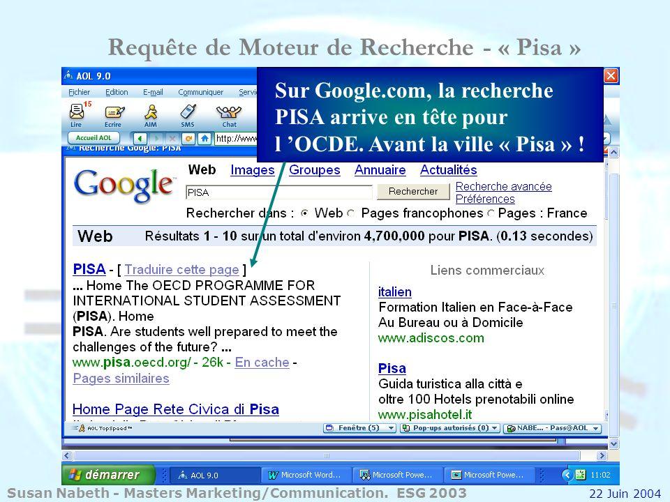 Requête de Moteur de Recherche - « Pisa » Sur Google.com, la recherche PISA arrive en tête pour l OCDE. Avant la ville « Pisa » ! Susan Nabeth - Maste