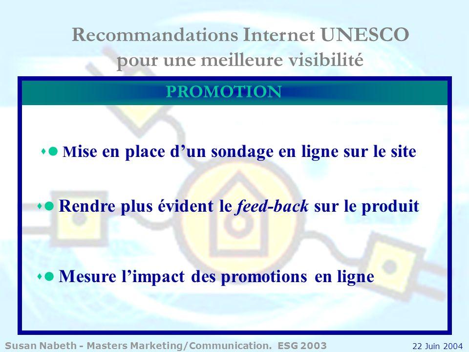 Recommandations Internet UNESCO pour une meilleure visibilité M ise en place dun sondage en ligne sur le site Rendre plus évident le feed-back sur le