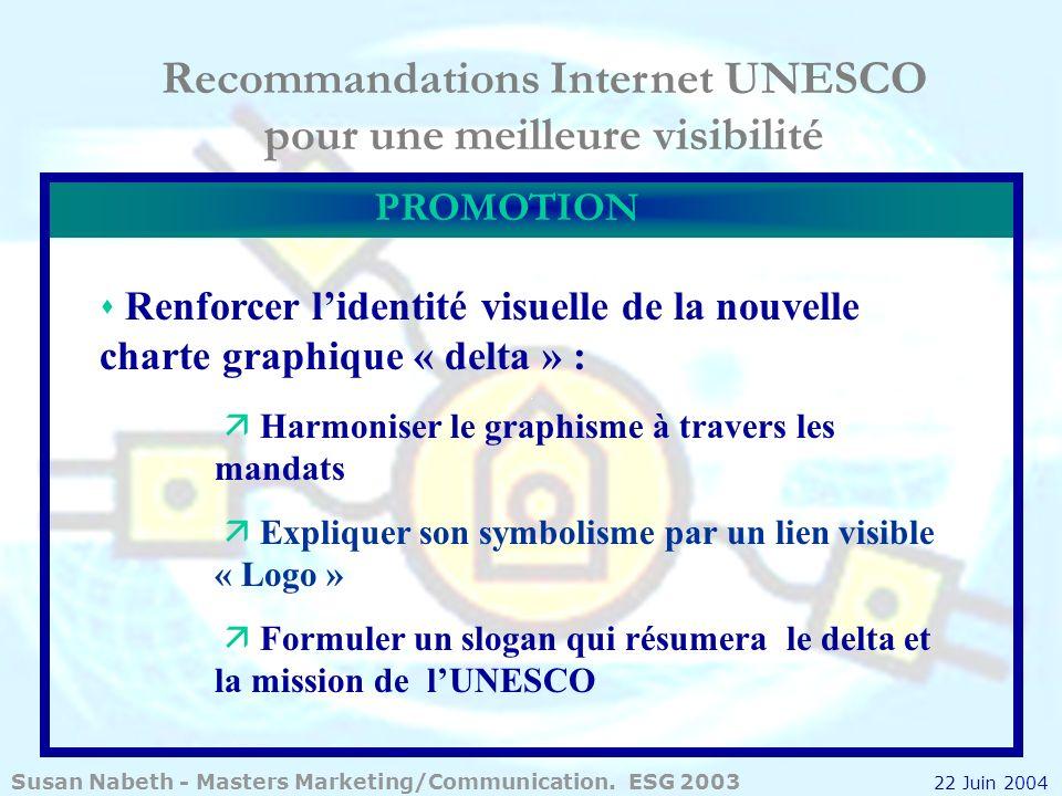 Recommandations Internet UNESCO pour une meilleure visibilité Renforcer lidentité visuelle de la nouvelle charte graphique « delta » : Harmoniser le g