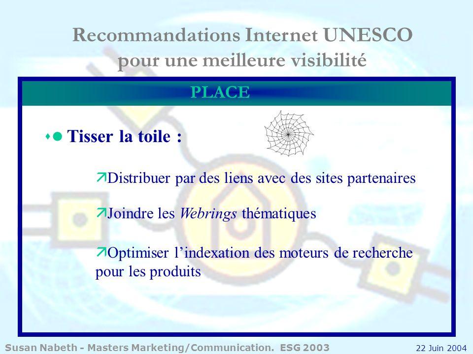 Recommandations Internet UNESCO pour une meilleure visibilité PLACE Tisser la toile : ä Distribuer par des liens avec des sites partenaires ä Joindre