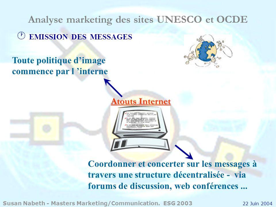 Analyse marketing des sites UNESCO et OCDE LES MESSAGES DOIVENT ATTIRER LATTENTION Atouts Internet Mesurer limpact des messages et leur contenu - trafic Modifier le contenu, si besoin.