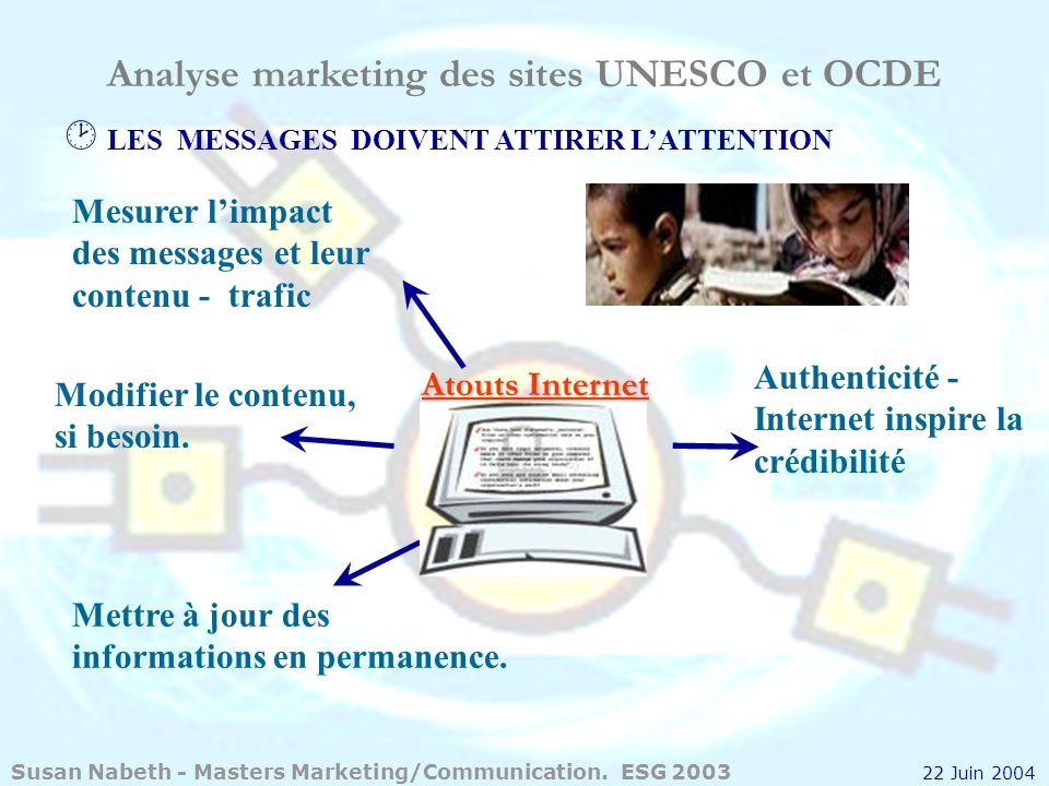 Analyse marketing des sites UNESCO et OCDE LES MESSAGES DOIVENT ATTIRER LATTENTION Atouts Internet Mesurer limpact des messages et leur contenu - traf