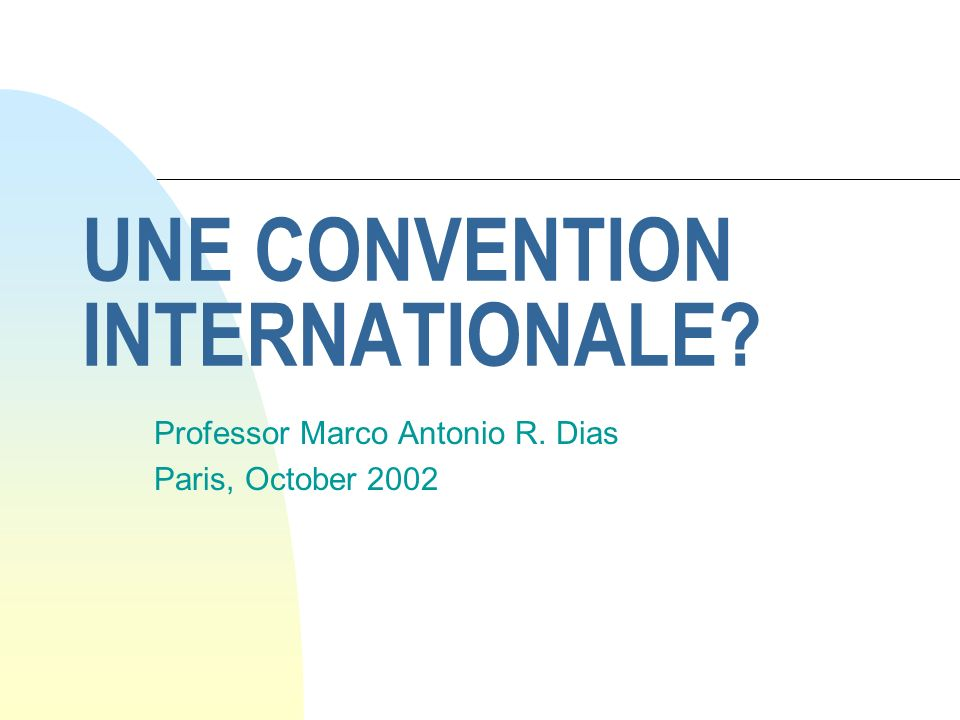 UNE CONVENTION INTERNATIONALE? Professor Marco Antonio R. Dias Paris, October 2002