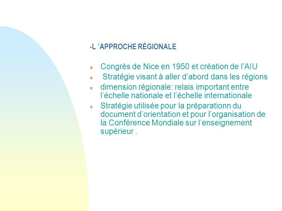 -L APPROCHE RÉGIONALE n Congrès de Nice en 1950 et création de lAIU n Stratégie visant à aller dabord dans les régions n dimension régionale: relais i