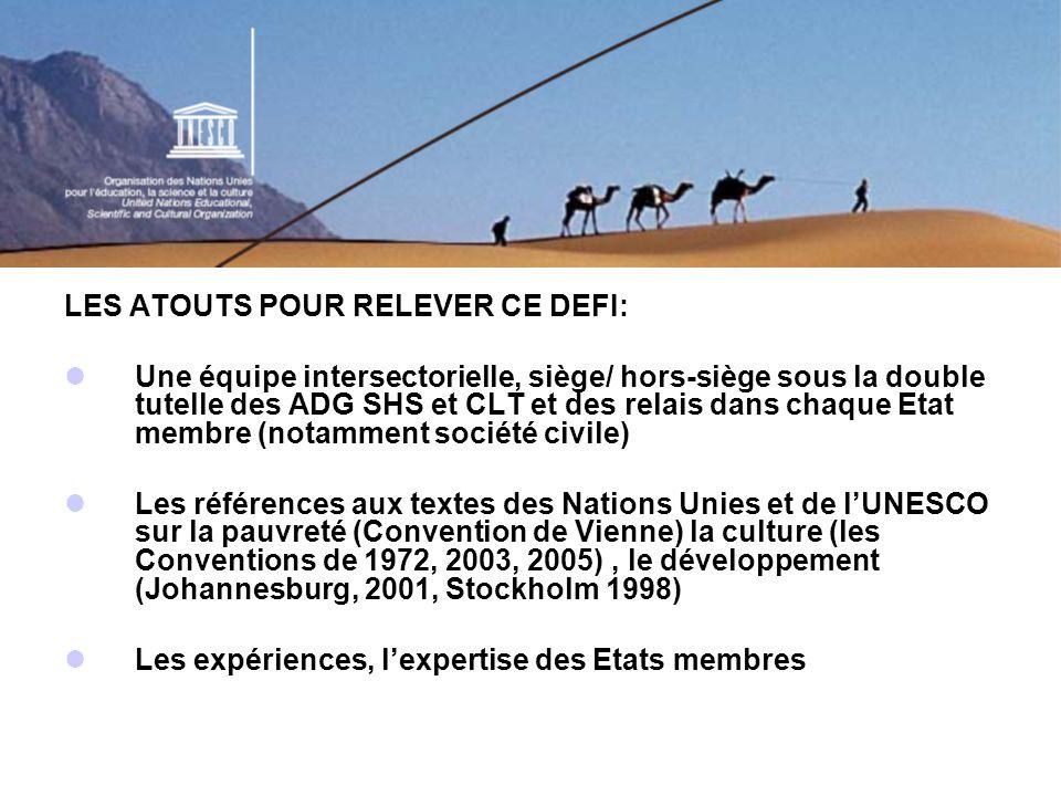 LES ATOUTS POUR RELEVER CE DEFI: Une équipe intersectorielle, siège/ hors-siège sous la double tutelle des ADG SHS et CLT et des relais dans chaque Etat membre (notamment société civile) Les références aux textes des Nations Unies et de lUNESCO sur la pauvreté (Convention de Vienne) la culture (les Conventions de 1972, 2003, 2005), le développement (Johannesburg, 2001, Stockholm 1998) Les expériences, lexpertise des Etats membres