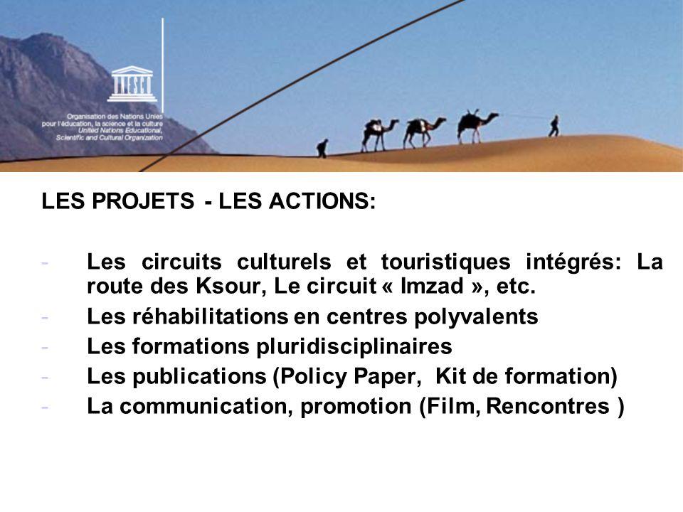 Les partenariats multi acteurs: Etats membres du Sahara, PNUD, PNUE, OMT Fondation Désert du Monde, Observatoire du Sahara et du Sahel, Desert Research Center, Barth Institute, Entreprises de tourisme, Associations de développement, Secteur privé (Entreprises pétrolières), etc.