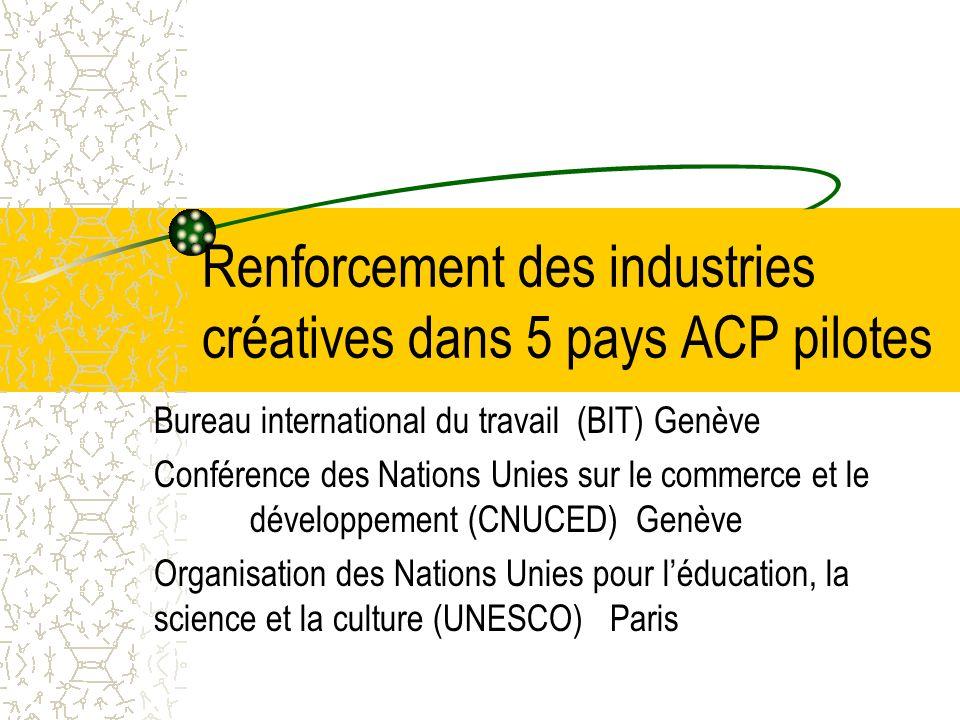 Renforcement des industries créatives dans 5 pays ACP pilotes Bureau international du travail (BIT) Genève Conférence des Nations Unies sur le commerce et le développement (CNUCED) Genève Organisation des Nations Unies pour léducation, la science et la culture (UNESCO) Paris