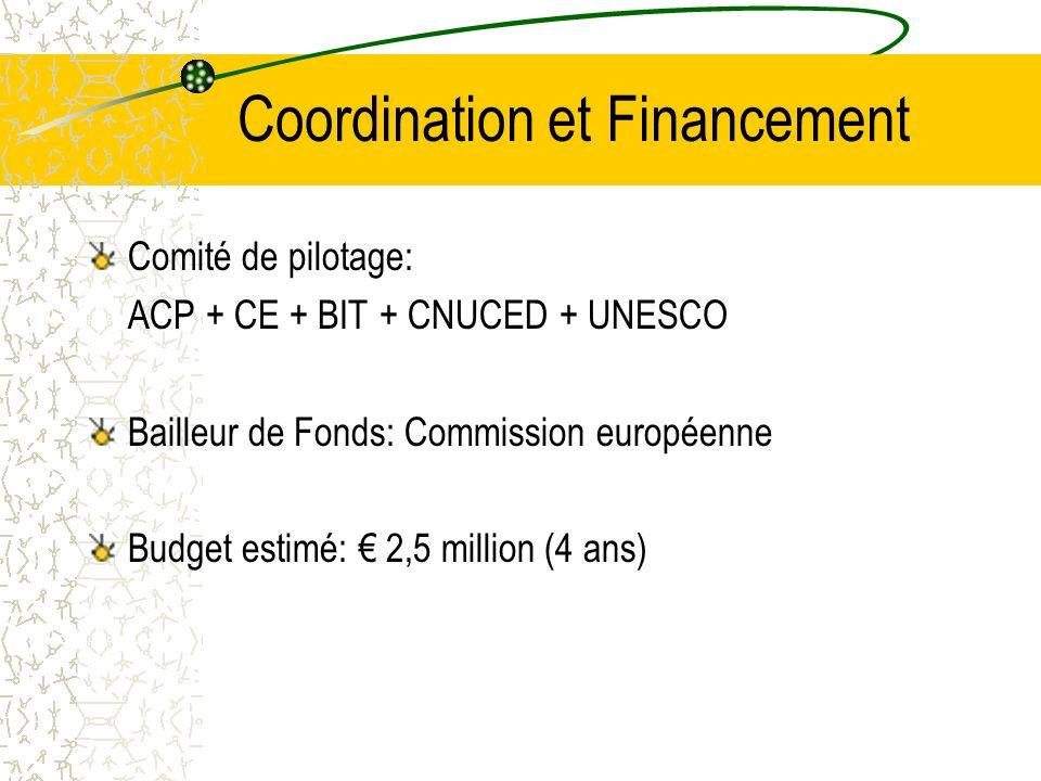 Coordination et Financement Comité de pilotage: ACP + CE + BIT + CNUCED + UNESCO Bailleur de Fonds: Commission européenne Budget estimé: 2,5 million (4 ans)