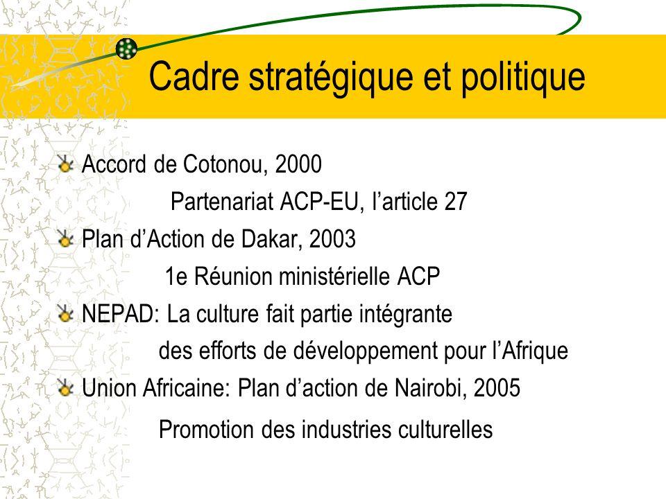 Cadre stratégique et politique Accord de Cotonou, 2000 Partenariat ACP-EU, larticle 27 Plan dAction de Dakar, 2003 1e Réunion ministérielle ACP NEPAD: La culture fait partie intégrante des efforts de développement pour lAfrique Union Africaine: Plan daction de Nairobi, 2005 Promotion des industries culturelles