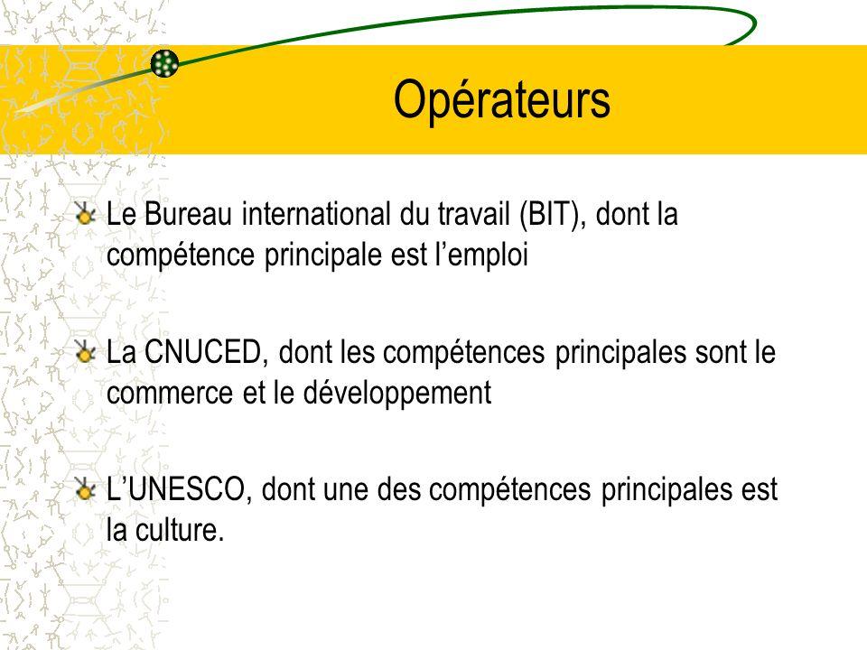Opérateurs Le Bureau international du travail (BIT), dont la compétence principale est lemploi La CNUCED, dont les compétences principales sont le commerce et le développement LUNESCO, dont une des compétences principales est la culture.