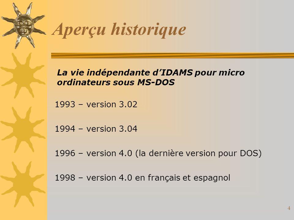 4 Aperçu historique La vie indépendante dIDAMS pour micro ordinateurs sous MS-DOS 1993 – version 3.02 1994 – version 3.04 1996 – version 4.0 (la dernière version pour DOS) 1998 – version 4.0 en français et espagnol