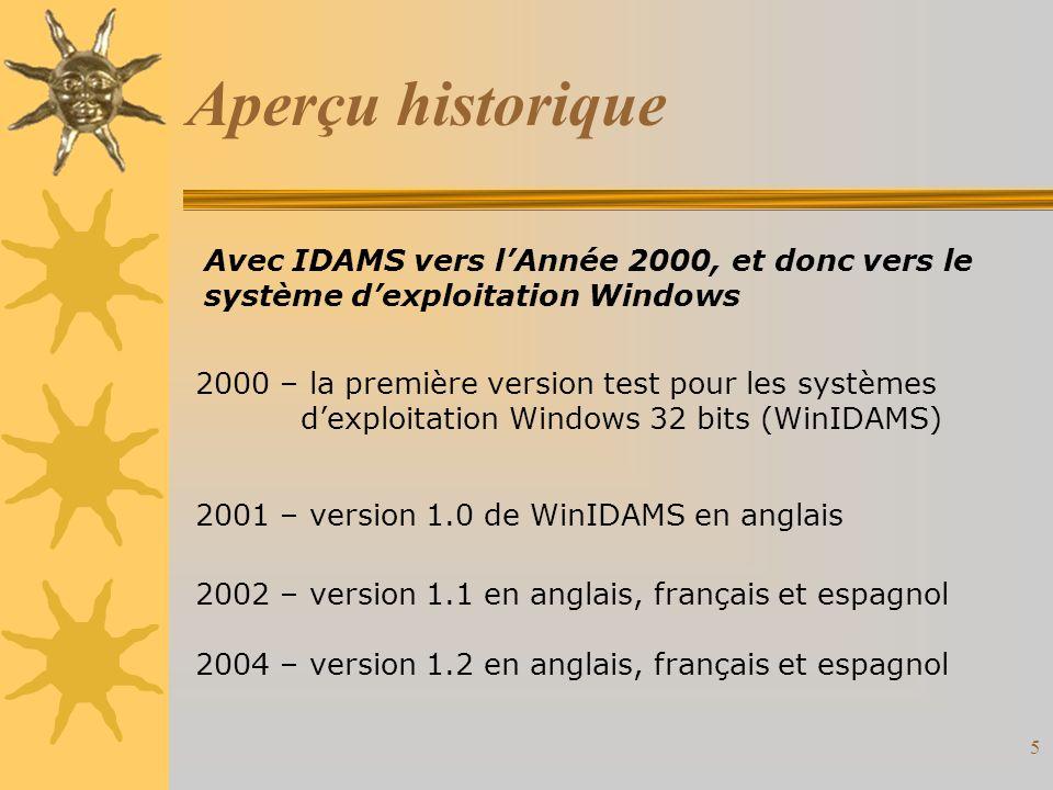 5 Aperçu historique Avec IDAMS vers lAnnée 2000, et donc vers le système dexploitation Windows 2000 – la première version test pour les systèmes dexploitation Windows 32 bits (WinIDAMS) 2001 – version 1.0 de WinIDAMS en anglais 2002 – version 1.1 en anglais, français et espagnol 2004 – version 1.2 en anglais, français et espagnol