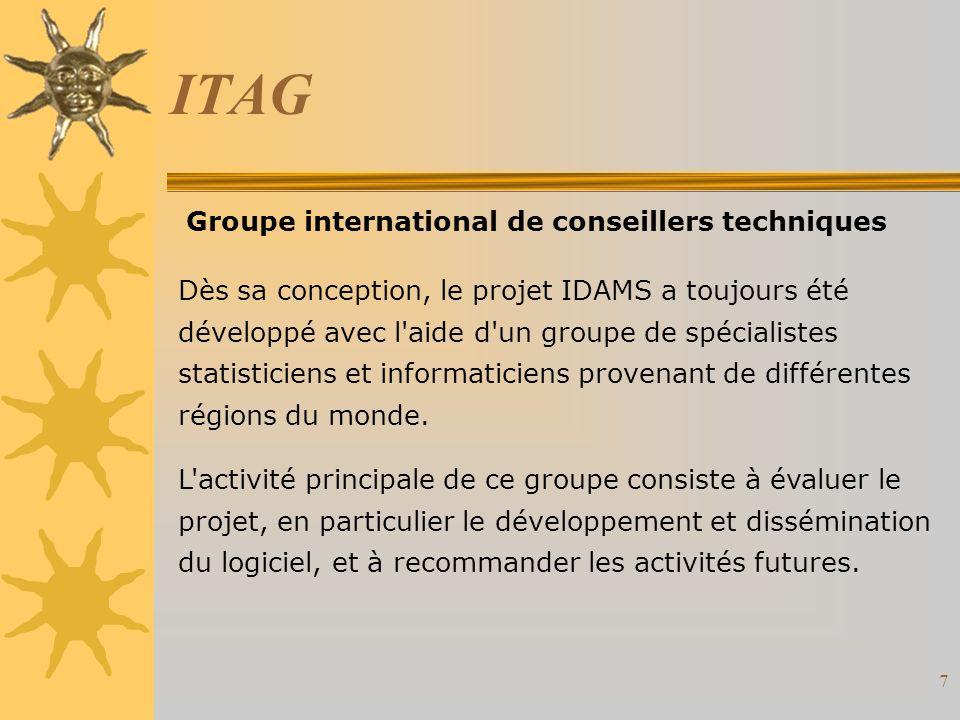 7 ITAG Dès sa conception, le projet IDAMS a toujours été développé avec l aide d un groupe de spécialistes statisticiens et informaticiens provenant de différentes régions du monde.
