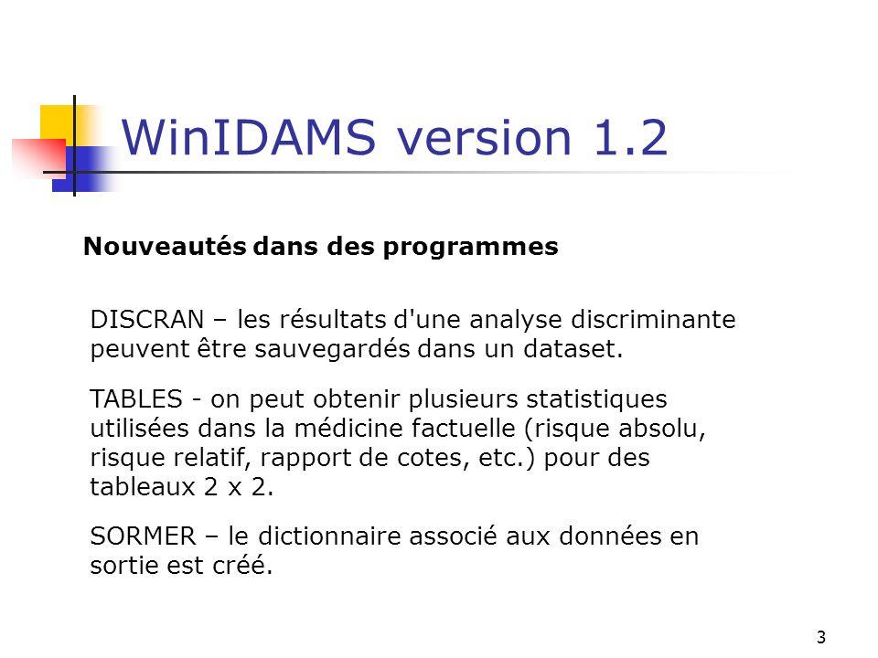 3 WinIDAMS version 1.2 Nouveautés dans des programmes DISCRAN – les résultats d'une analyse discriminante peuvent être sauvegardés dans un dataset. TA
