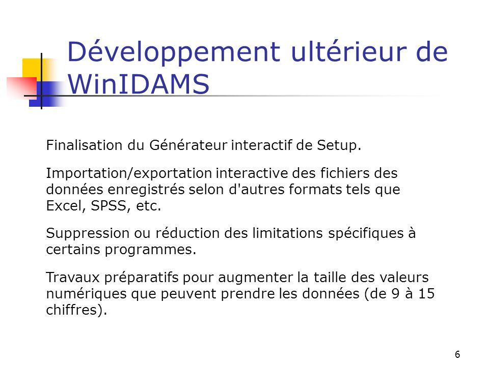 6 Développement ultérieur de WinIDAMS Finalisation du Générateur interactif de Setup. Importation/exportation interactive des fichiers des données enr