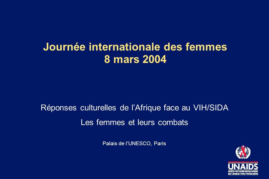 Journée internationale des femmes 8 mars 2004 Réponses culturelles de lAfrique face au VIH/SIDA Les femmes et leurs combats Palais de lUNESCO, Paris