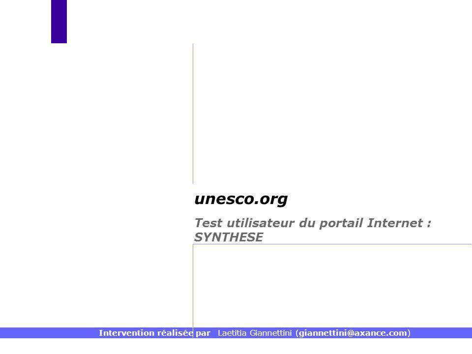 Test utilisateur du portail Internet : SYNTHESE unesco.org Intervention réalisée par Laetitia Giannettini (giannettini@axance.com)