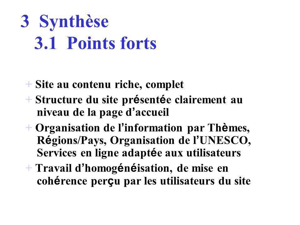 3.1 Points forts 3.2 Points damélioration >>