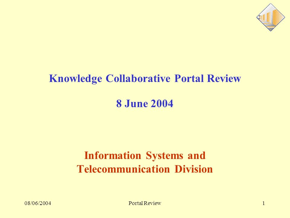 08/06/2004Portal Review2 Menu General IT landscape Functional Presentation - XML Referential Albert – search engine Sympa – mass mailing Static and Chef dOrchestre; KO redirection Portal Development Environment Physical Architecture