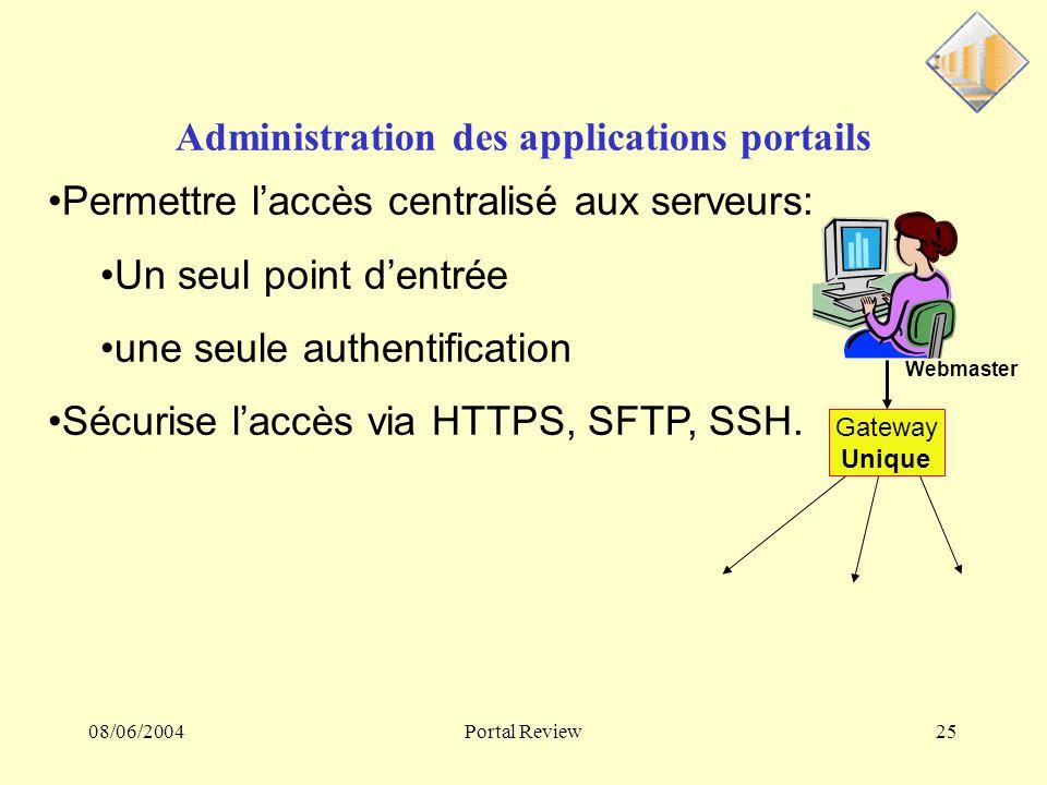 08/06/2004Portal Review25 Administration des applications portails Gateway Unique Webmaster Permettre laccès centralisé aux serveurs: Un seul point dentrée une seule authentification Sécurise laccès via HTTPS, SFTP, SSH.